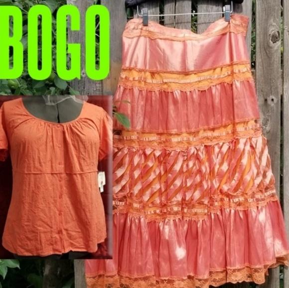 Eva Eva Dresses & Skirts - BOGO! XL Eva Eva Boho Ribbon Skirt + Free Shirt